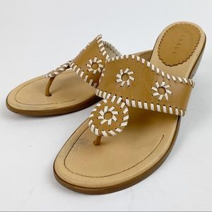 Pesaro Leather Thong Whipstitch Flip Flop Sandals